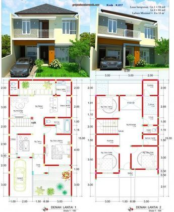 40 denah rumah 2 lantai 7 x 15 percantik rumah!