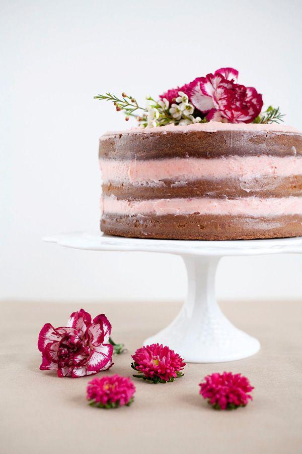 Rustic Vanilla Cake with Fresh Strawberry Buttercream