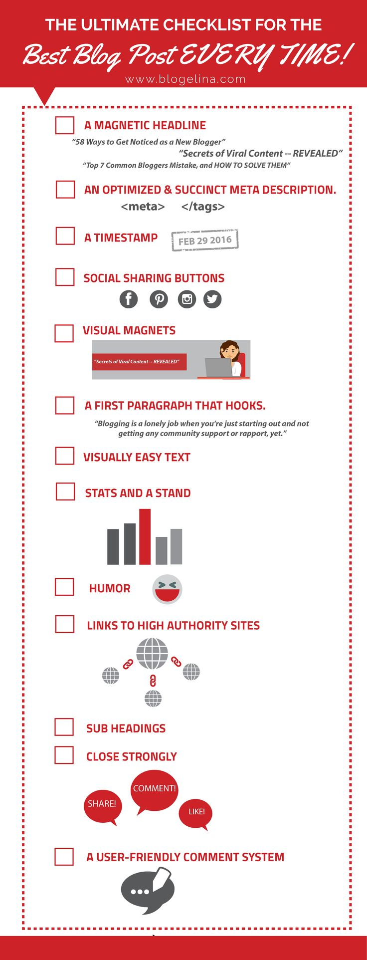 The Ultimate Checklist for the Best Blog Post EVERY TIME!  Great infographic and good blogging reminder!