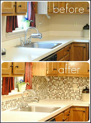 A gorgeous transformation using peel and stick backsplash. Whoa. from  http://