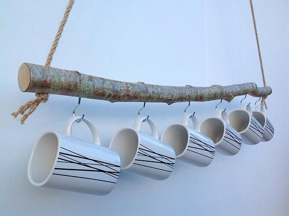 Mug+rack.+Natural+Wood+hanging+branch+mug+rack.+Green+stick+hazel+furniture/+kitchen+decor.+6+chrome+hooks+on+hand-carved+wooden+pole.