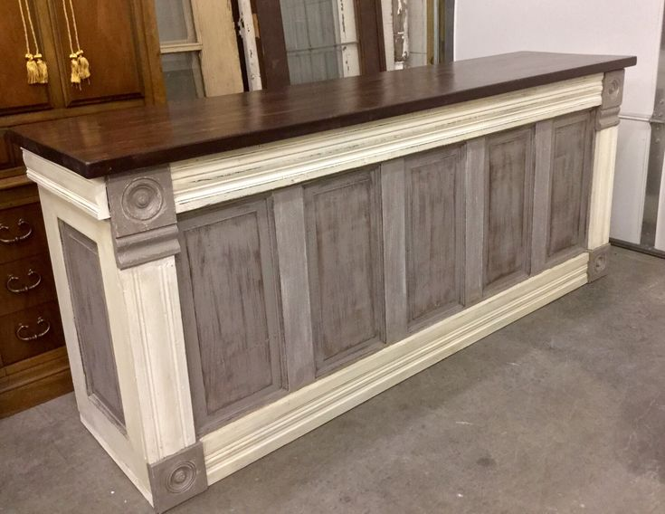 just finished this Urban Chic Custom Counter this evening. I build them with reclaimed vintage architectural material. They have multiple uses; Retail Check-Out Counter, Kitchen Island, Reception Counter, Library Counter, Display Counter ..... I have built them for local businesses and clients for years. Shown at my workshop. www.urbanchic-decor.com