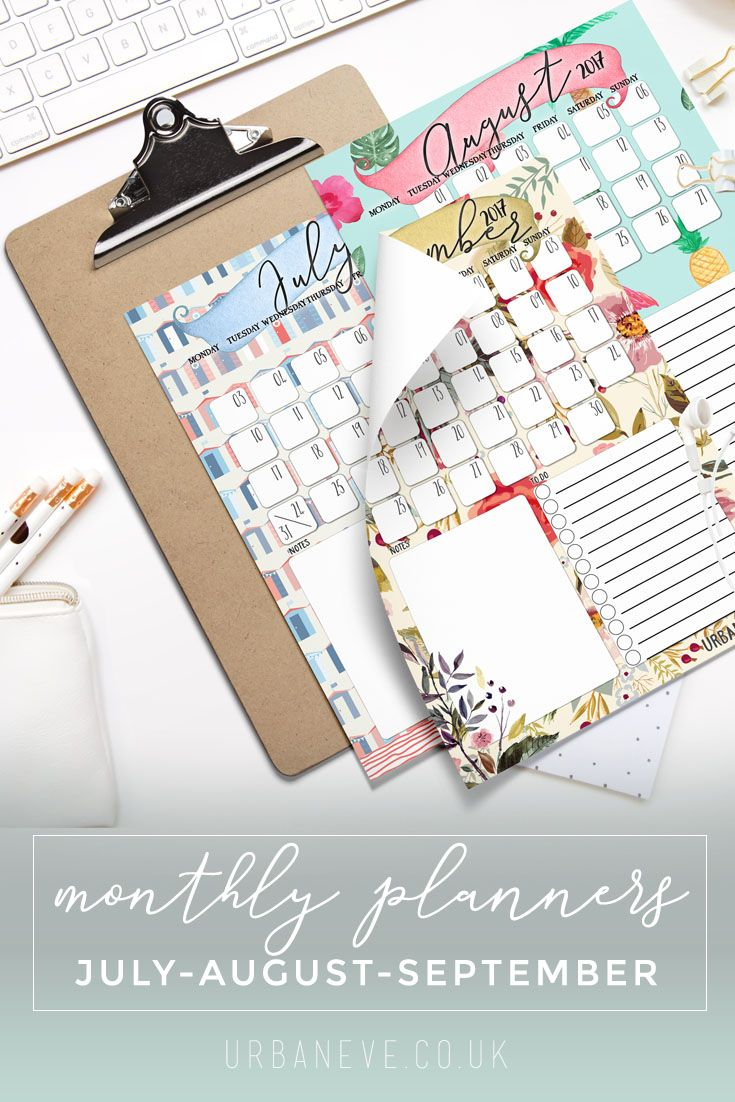 Beach huts for July, watermelon & flamingos for August, lush flowers for September. This printable wall planner bundle has it all. You can download all three in one package!
