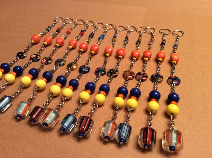 Beautiful Shower Curtain Hook Decoration. Blue, Orange, And Yellow. 12 Strands. By