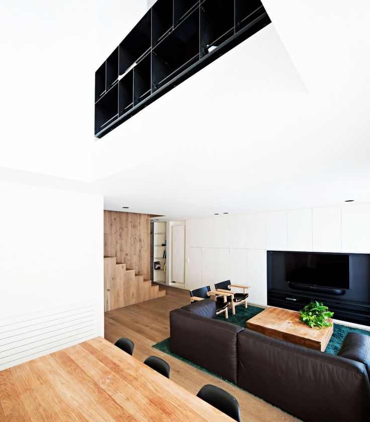 Home Design, Spacious Vivienda En Arnedo Home Interior Painted In White With Warm Wooden Floor And Space Saving Storage Idea: Fantastic Modern Contemporary House Design Ideas With Monochrome Theme