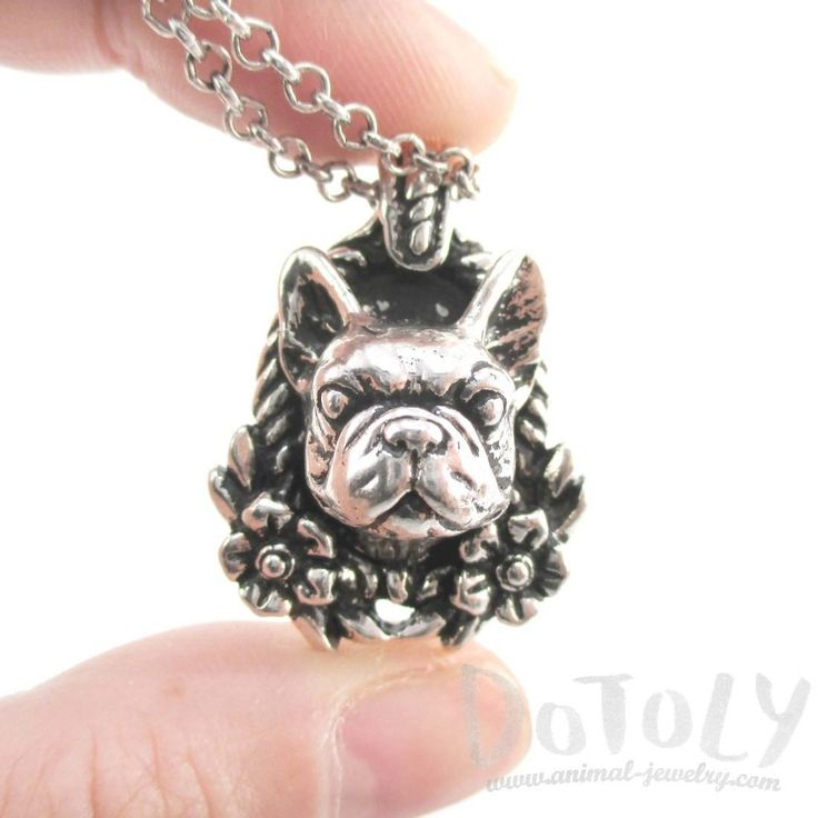 French Bulldog Head Floral Wreath Shaped Necklace in Silver | Gifts for Dog Lovers
