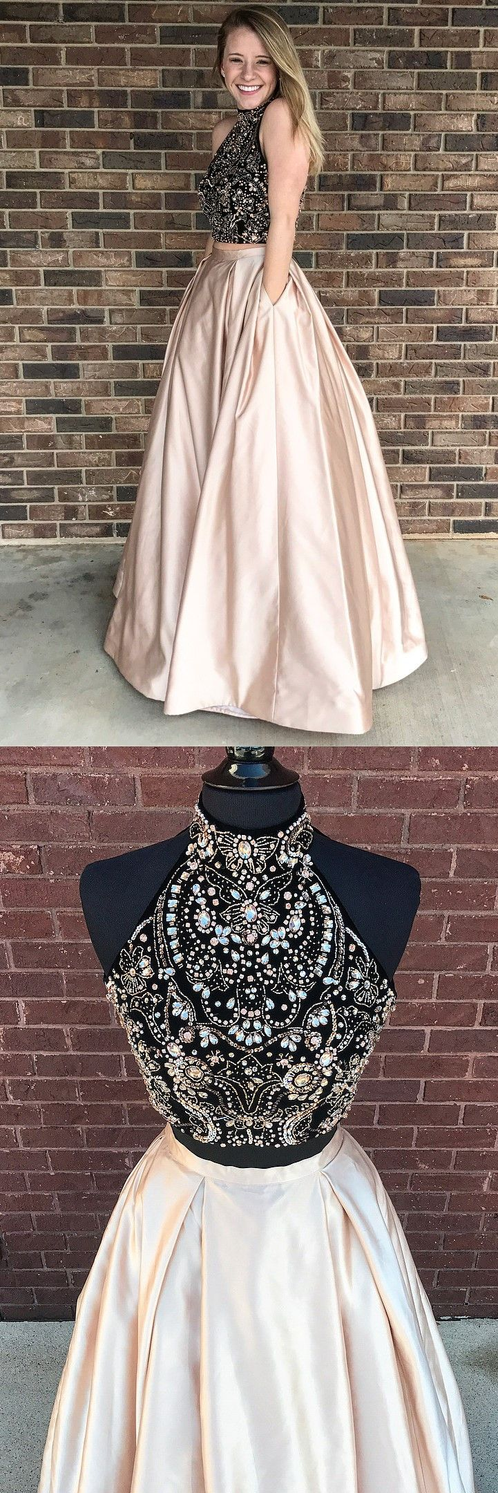 elegant 2 pieces prom evening gowns with beaded, fashion formal party dresses with open back, modest halter pearl pink  party gowns.