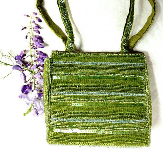 Bag sequin beaded vintage green evening sac elegant silver