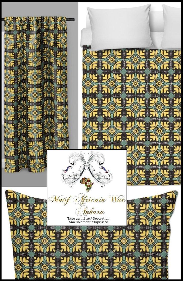 Boutique tissu ameublement et tapisserie motif pagne Africain wax au mètre voilage, ignifuge ...