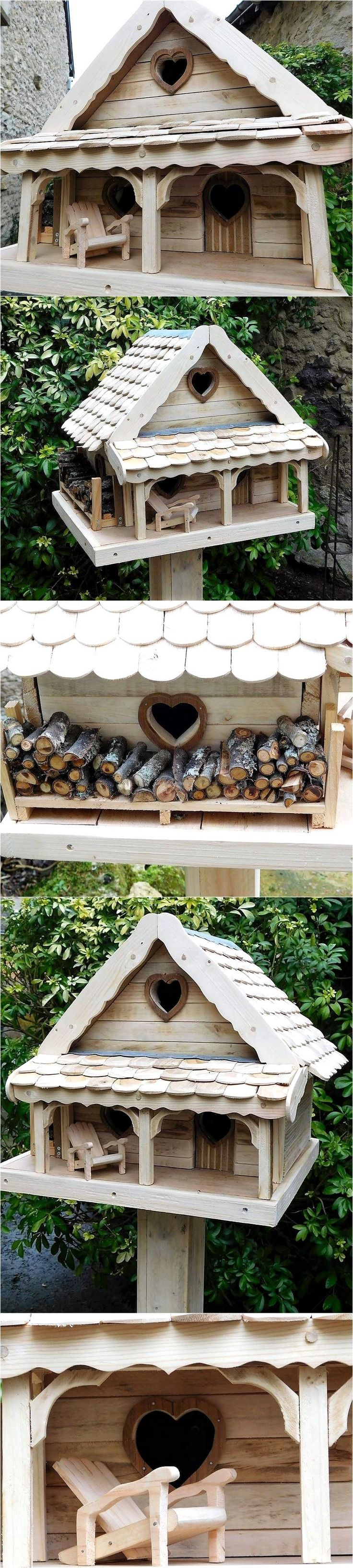 Here we have presented the idea of recycling the wood pallets for the animals use, it is not just easy to craft; but looks innovative when placed in the lawn of the home. The wooden pallets can be reshaped to craft the birdhouse for the birds that live with you in your home or it can be created for any bird that loves to stay in it. We would love to show you how it looks: