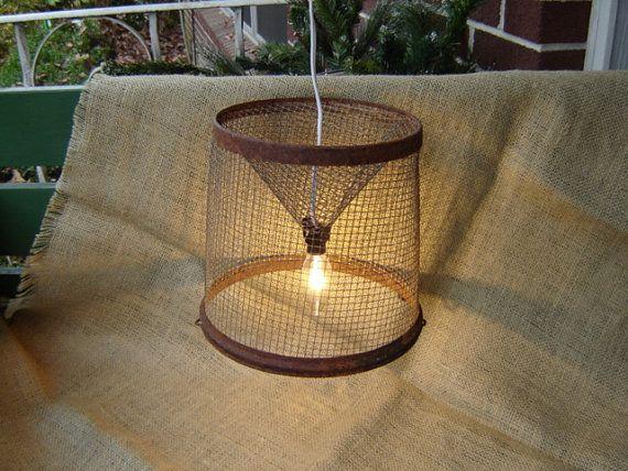 8 Prodigious Unique Ideas Lamp Shades Repurpose Lamp: Repurposed Minnow Trap Lamp Upcycled Industrial