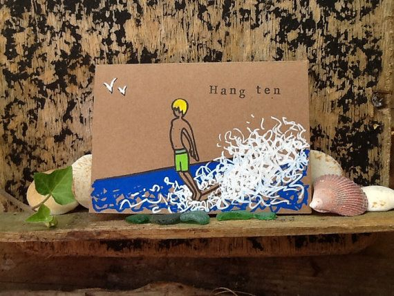 Surf Art greetings card 'Hang ten' recycled by Spellboundbythesea, £3.50