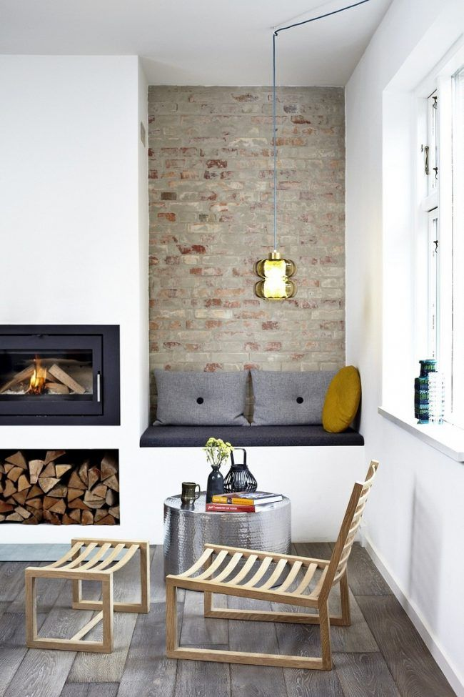 Wandnischen Gestalten Wohnzimmer Nische Sofa Wandverkleidung Ziegeloptik