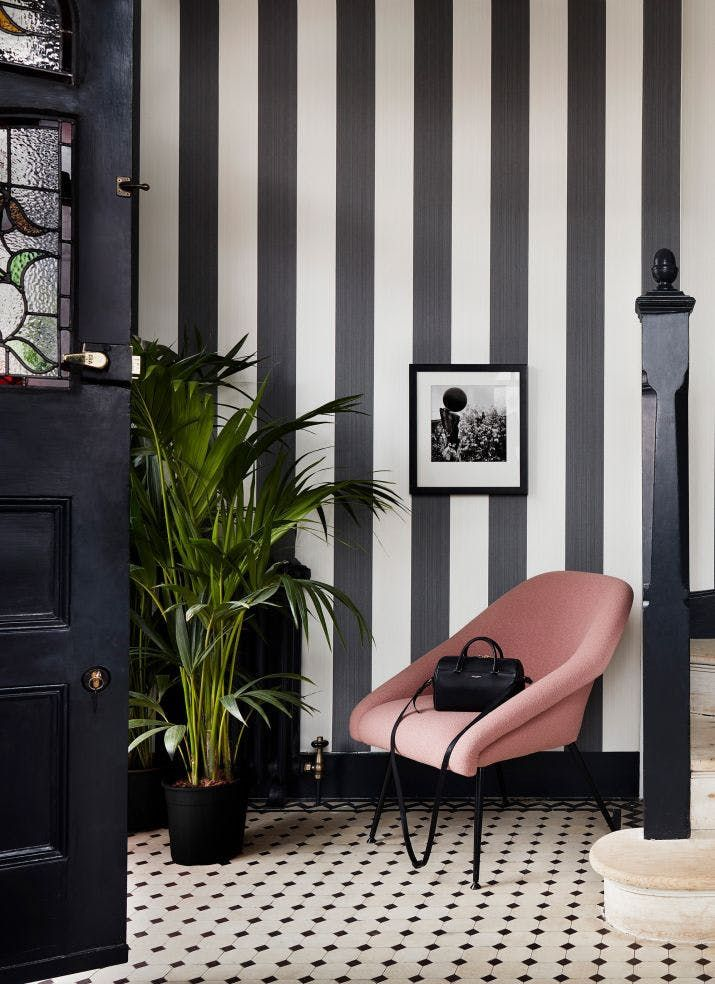 Jaspe Stripe Black White Kravet Stripe Wallpaper Bedroom Striped Wallpaper Hallway Striped Walls