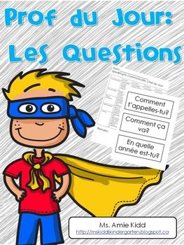 The following 21 question cards can be printed on card stock and used in any primary French Immersion or Core French class as part of a 'Prof du Jour' routine. Each day, a new 'Prof' (star, VIP, chef, leader, etc.) is chosen. The 'Prof du Jour' has certain tasks to perform throughout the day (such as bringing the attendance to the office, helping with the calendar, etc.) and they must also answer three randomly selected questions.