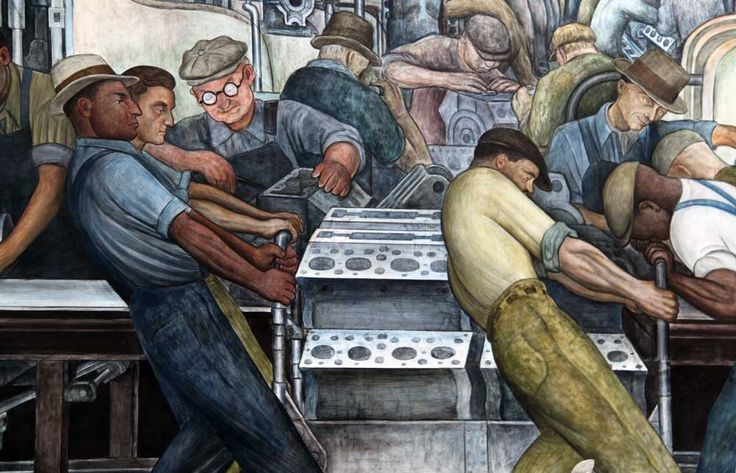 A section of Diego Rivera's Detroit Industry murals, made in the 1930s, at the Detroit Institute of Arts.