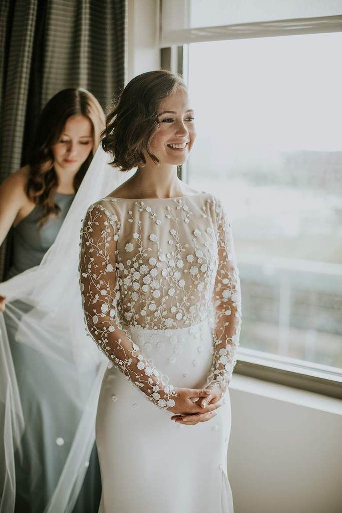 6c01b72079faf3 Rime Arodaky 'Blair' size 4 used wedding dress front view on bride ...
