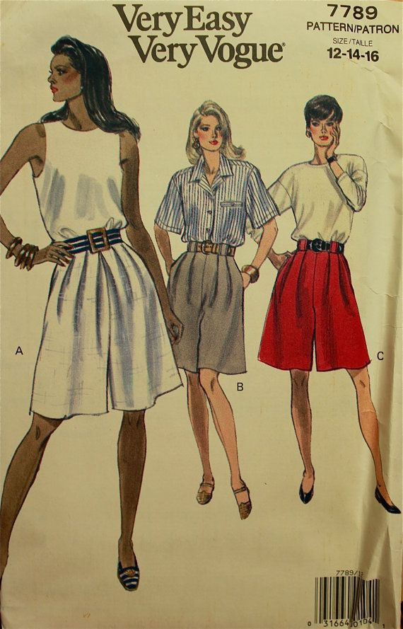 1990s  Culotte or Shorts Vogue Pattern 7789 by patterntreasury, $8.95