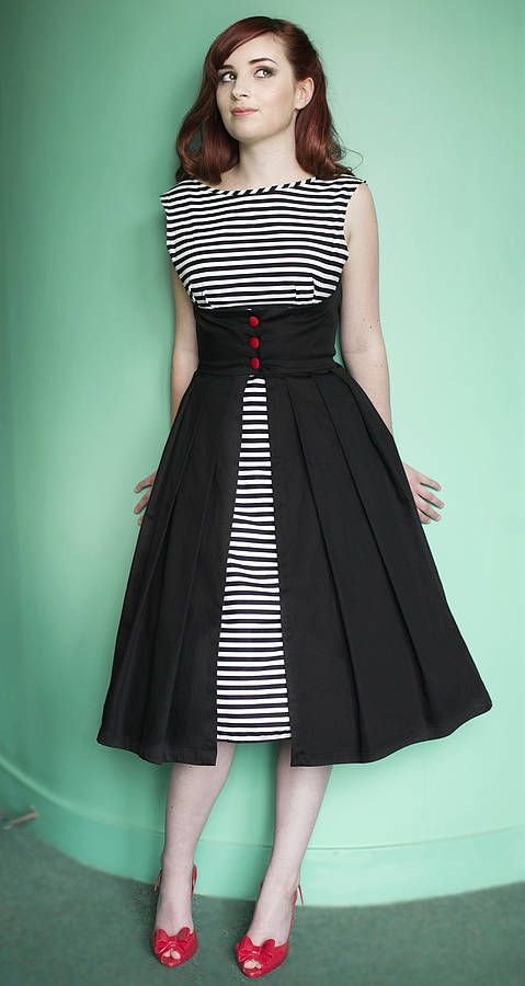 lulu stripe button front 1950s style dress by dollydagger | notonthehighstreet.com