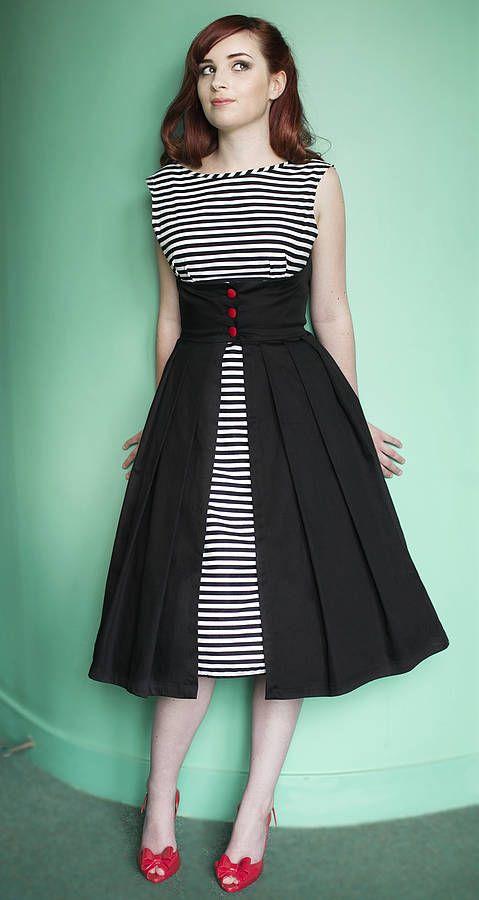 lulu stripe button front 1950s style dress by dollydagger | notonthehighstreet.com