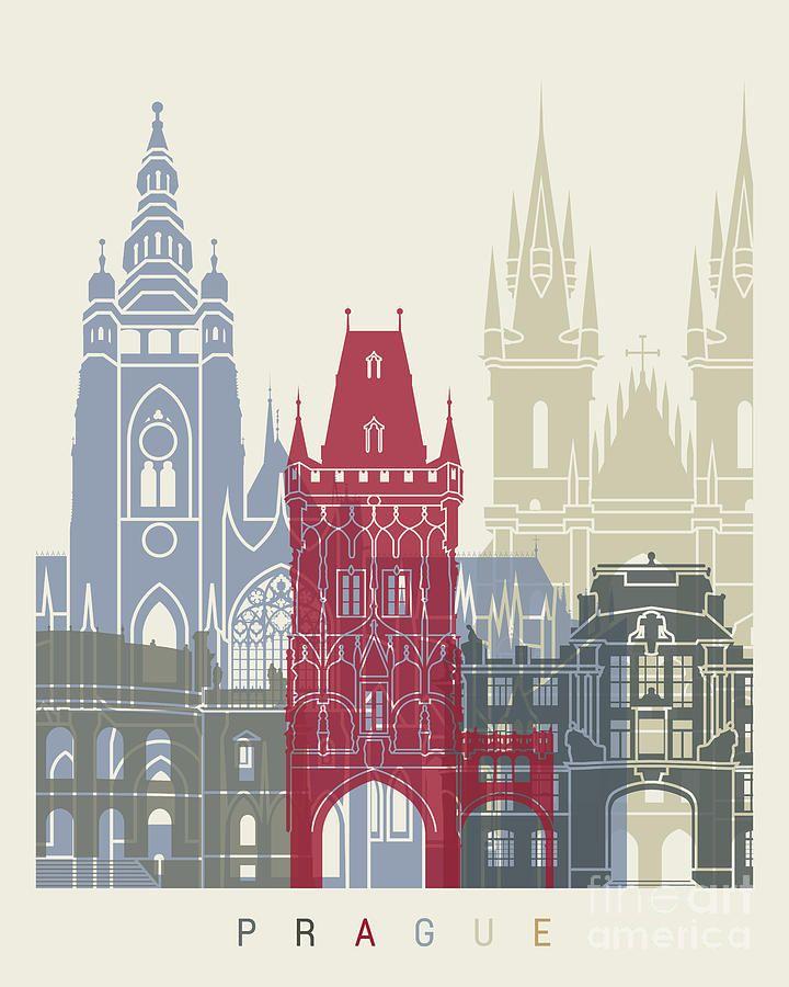 Prague Painting - Prague Skyline Poster by Pablo Romero