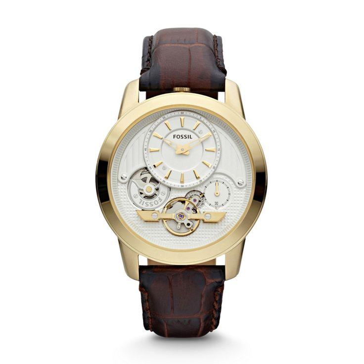 Fossil Grant Twist Horloge Leer – Bruin
