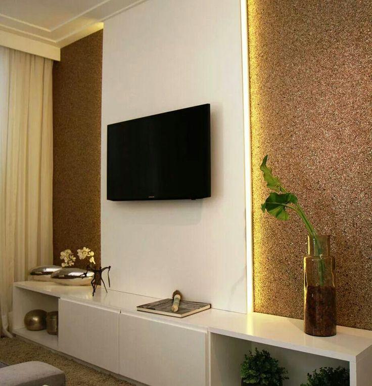 tv em gesso e luz embutida Interior, Tv Wall, Room Decor, Salas De Tv