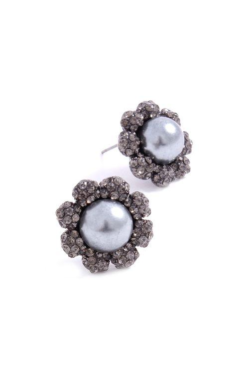 Blossom Earrings in Black Diamond Crystal