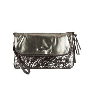 Urban code wanderlust clutch  Shimmering gold suede with a contrasting sparkly black & white panel. The front flap is zippered and opens to reveal a lined interior with additional interior zipped pocket. There is an additional exterior compartment. Finished with a detachable wristlet. Dimensions: 23x33cms