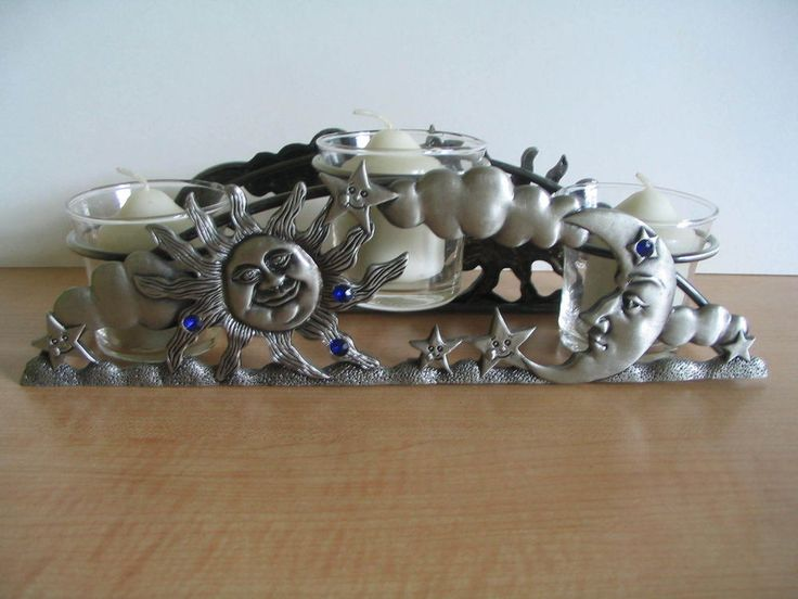 SPOONTIQUES 3 Tealight Candle Holder Sun Moon Stars Home Decor/Celestial Pewter #Spoontiques