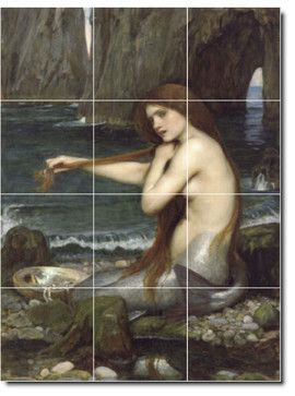 A Mermaid Tile Mural By John Waterhouse - traditional - Tile - Picture-Tiles