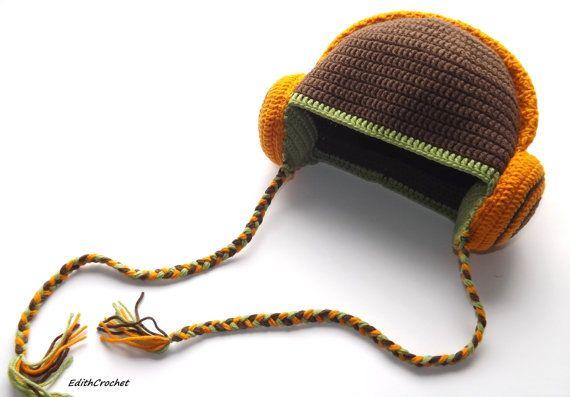 Dj hat, Boy hat. Brown hat. Cap fall and spring. DJ headphones. Crazy hat :). $27.00, via Etsy.
