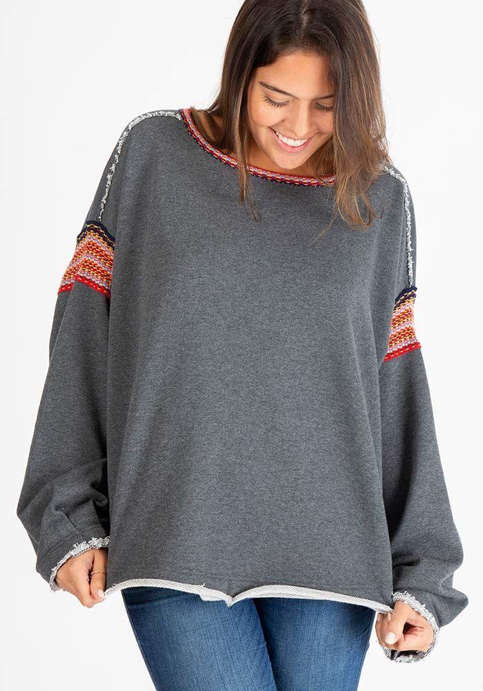 da36d68dc9 Charcoal Trim Sweatshirt in 2019