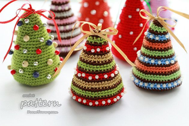 Crochet Pattern  Little Colorful Christmas Trees by ZoomYummy, $3.90