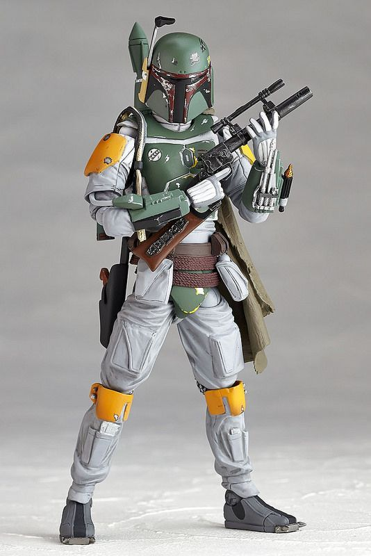 Kaiyodo has sent out a new batch of photos for their upcoming Star Wars Revoltech Boba Fett. This figure is based on Boba Fett's appearance in The Empire Strikes Back and will features over 20 points of articulation. Boba Fett will stand roughly 6″ tall (150 MM to be exact), and will include two blasters, multiple interchangeable hands, and a figure stand. Look for the figure to be released in May. Read on for the new images.