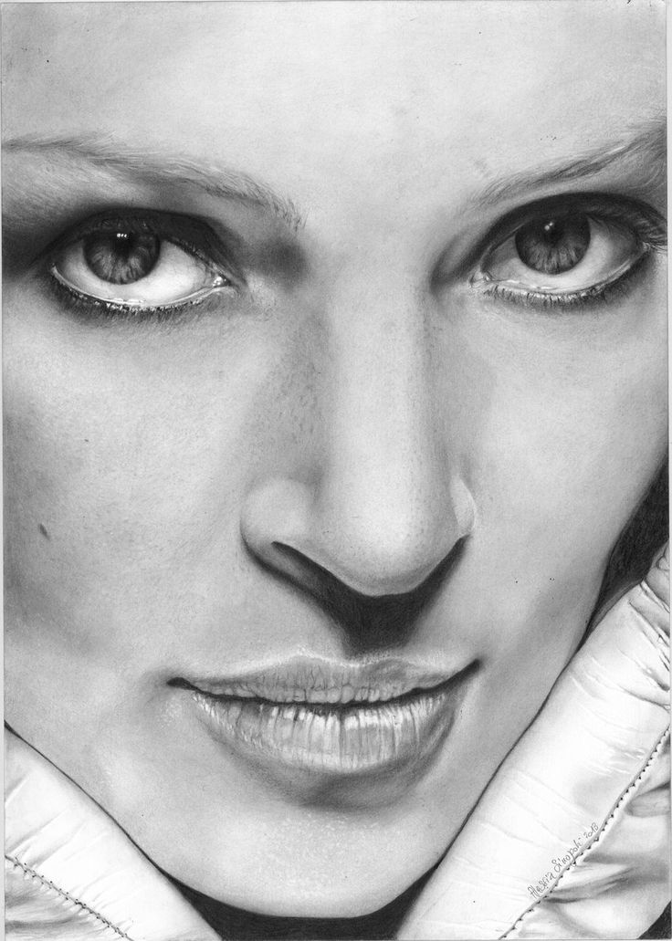 Portrait Studies . Uma Thurman . Pencil on paper A3