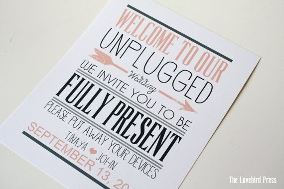 Unplugged Wedding Sign   Unplugged Ceremony  by TheLovebirdPress