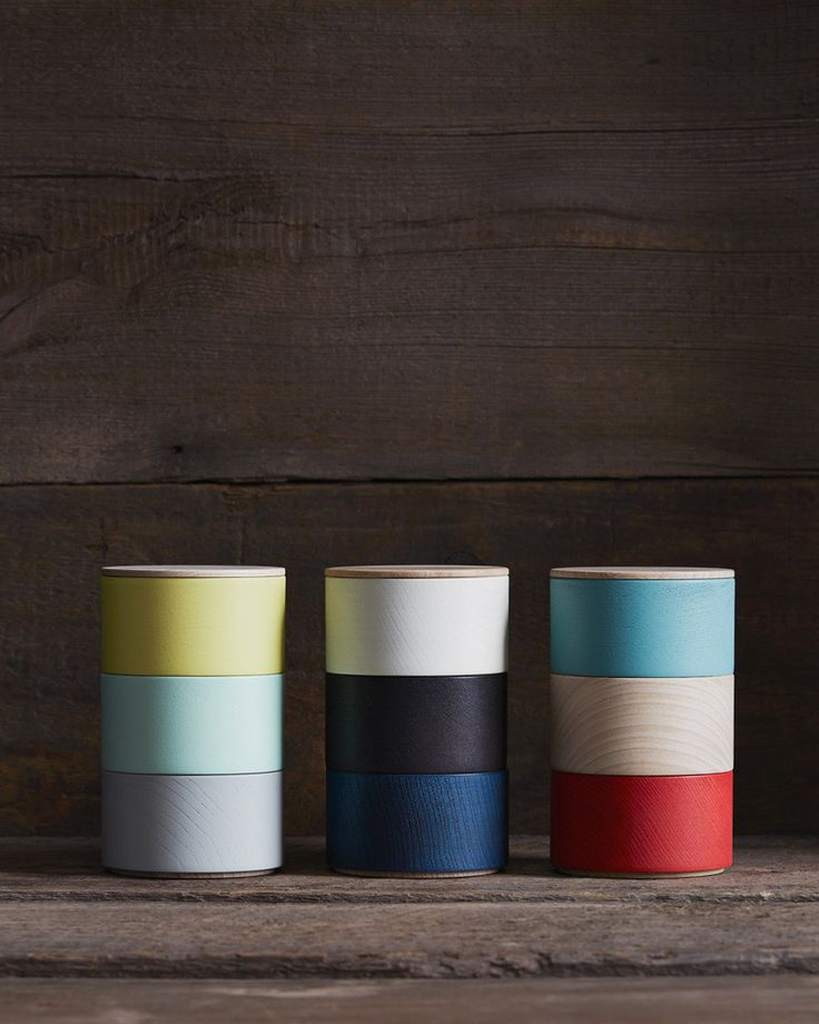 Hatashikkiten Border Three Tiered Containers - Turquoise, Natural, Red