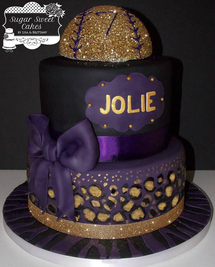 Plum & Gold ~ Leopard & Softball - Cake by Sugar Sweet Cakes