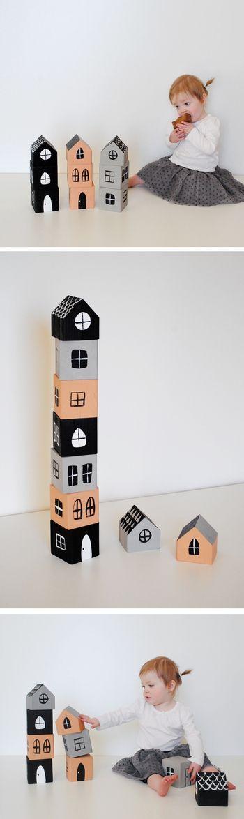 こちらは発泡スチロールでも、木のブロックでも簡単に作れるおうち積み木。 少し大きめサイズだと積み甲斐がありそう! 配色はあなたのセンスで♪