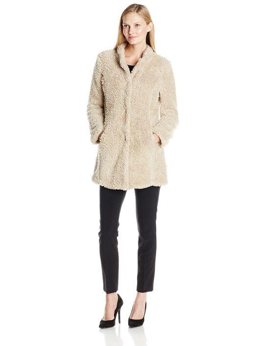 Kenneth Cole Women's Fuzzy Faux Fur Coat