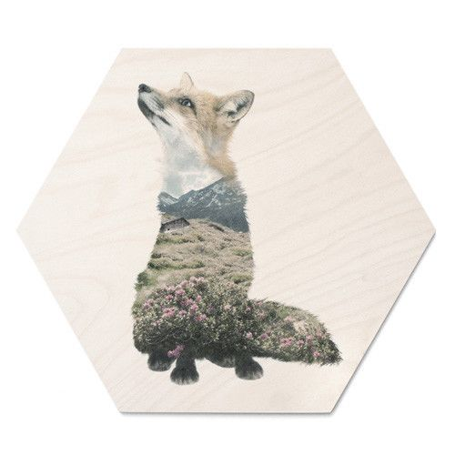 FAUNASCAPE FOX - Woodprint by WhatWeDo