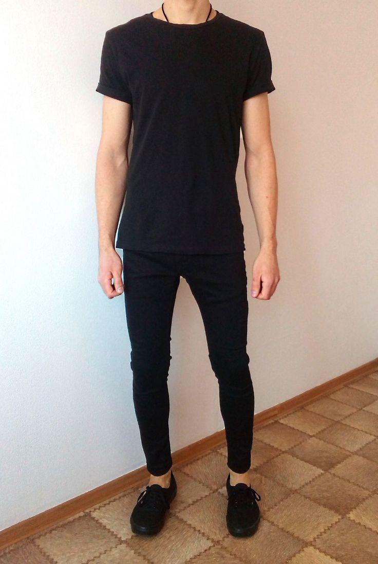 vans authentic black skinny jeans boys guys outfit | vans
