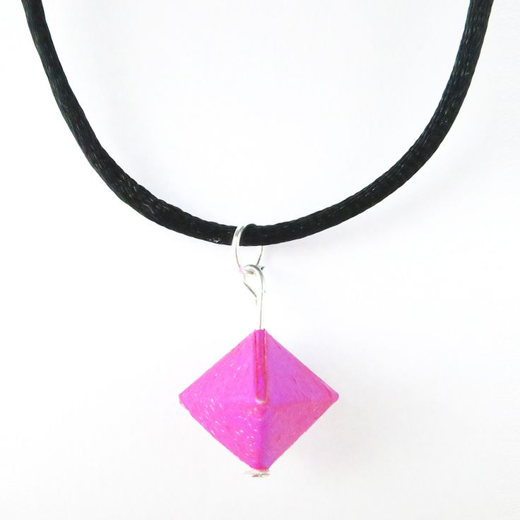 Pink Origami Geo Necklace. Made in UK. Customise options are also available. #geo #necklace #origami #paper #art