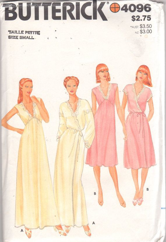 Butterick 4096 1980s Misses V Neck Lace Trimmed Nightgown and Peignoir womens vintage sewing pattern by mbchills