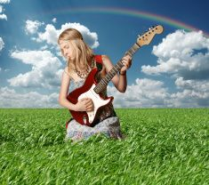 hippie girl with the guitar outdoor stock photo