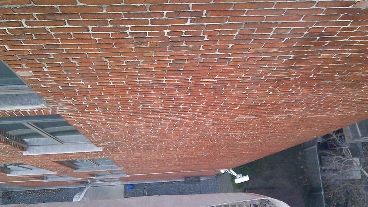 Protection biodégradable des murs en brique du CLSC des Faubourgs, Montréal.