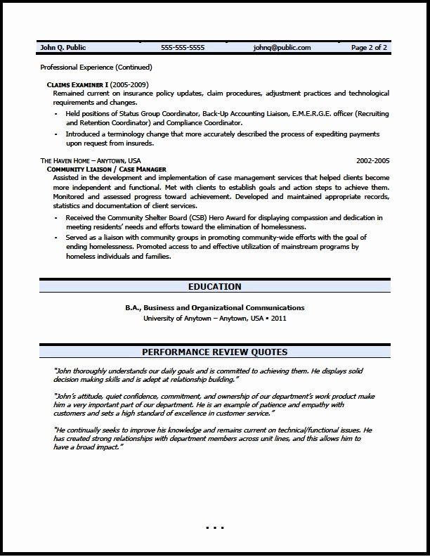 Federal Resume Example 2020 Best Of Claims Examiner Resume Sample In 2020 Resume Writer Executive Resume Template
