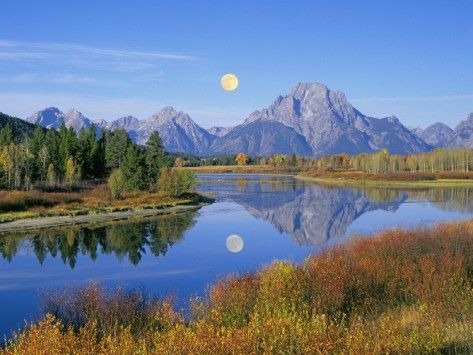 Full Moon Rising Over the Oxbow Bend in the Grand Tetons by Buddy Mays