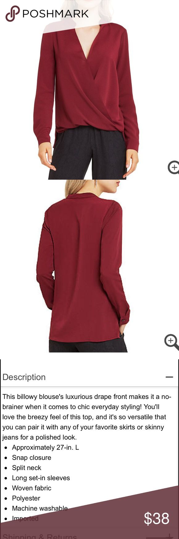 BCBGeneration Drape Front Blouse Maroon color. Please Let me know if you have any question.💖thanks BCBGeneration Tops Blouses